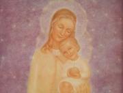 Ingelijste prent Maria met kind