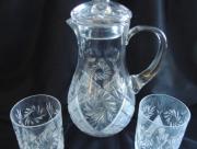 Kristallen Karaf met Deksel en Glazen